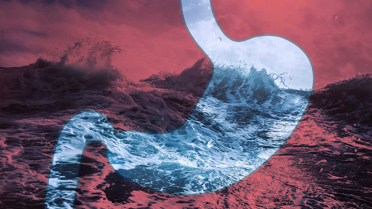 An illustration of a stomach against a background of a tumultuous sea.