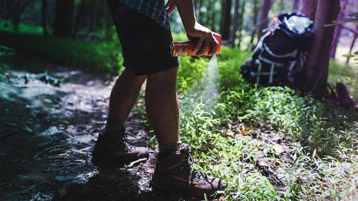 A person sprays insect repellent onto their boots while out hiking in the woods.
