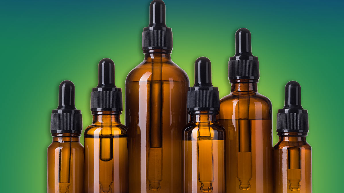 Dropper bottles of CBD