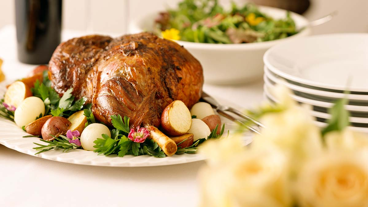 Leg of lamb can be a healthy easter food.