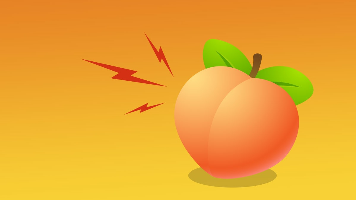 An illustration of a peach meant to symbolize hemorrhoid pain