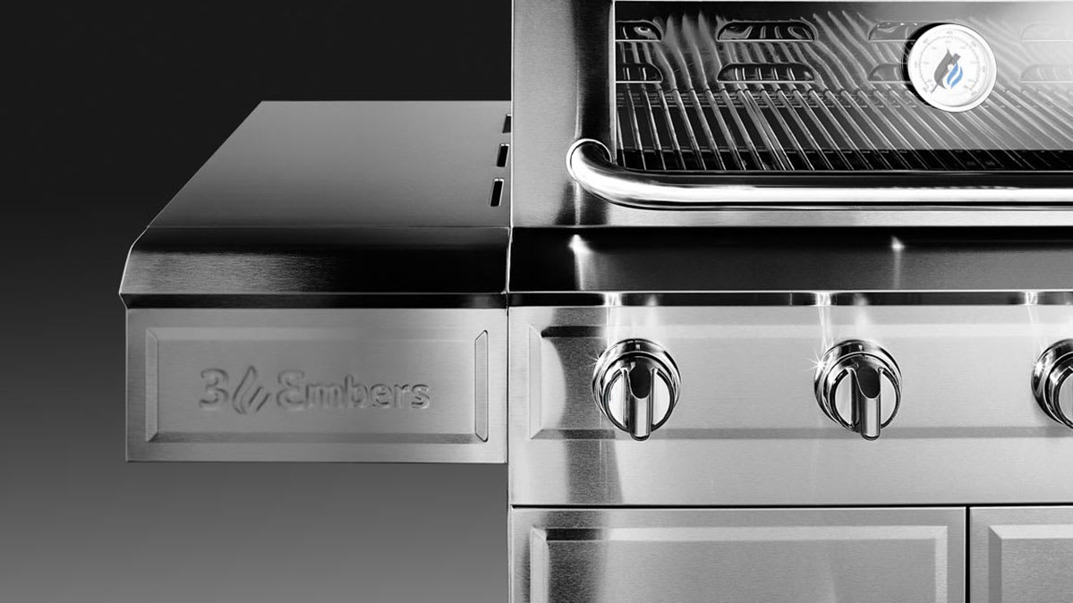 A stainless steel gas grill.