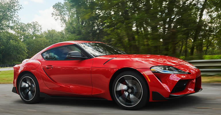 Cars Worth Waiting For, including the 2020 Toyota Supra, shown driving
