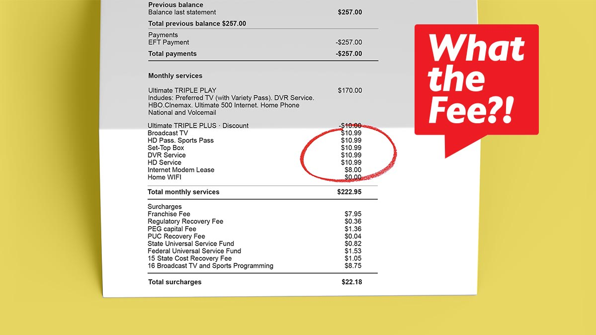 A cable bill showing cable TV fees.