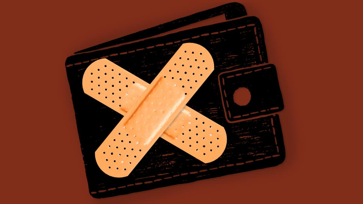 Illustration of a wallet with an adhesive bandage on it.