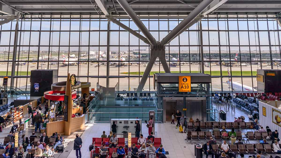Inside a terminal at Heathrow Airport, where passengers pay the highest facility charges in the world