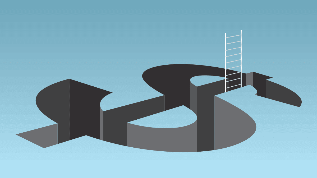 An illustration of a ladder emerging from a hole shaped like a dollar sign