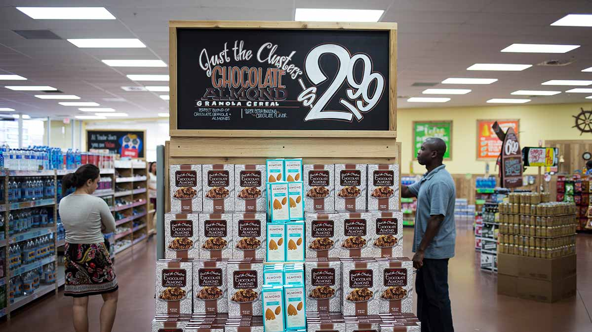 An end cap at a Trader Joe's grocery store, featuring its store brand products