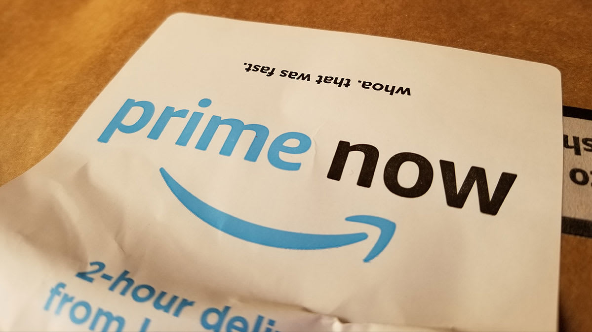 An Amazon Prime Now bag