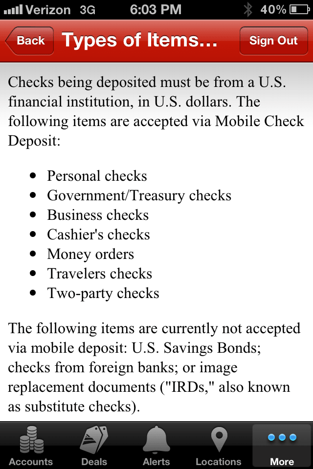 Bank Of America Mobile App Says Money Orders Are Allowed, Rejects My