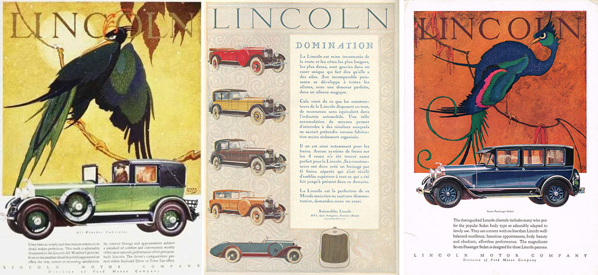 Lincoln ads from 1927 (first two from left) and 1928 advertising exotic color schemes.