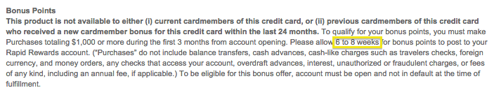 The terms and conditions for the bonus offer advise members to allow 6-8 weeks for points to post.
