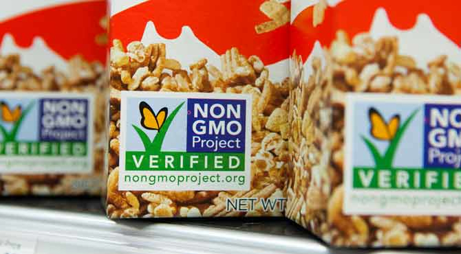 An image of a 'non-gmo' label on a package of food.