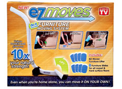 ez moves furniture moving system consists of a lever and eight pads you can place beneath feet so that u201ceven when youu0027re home alone