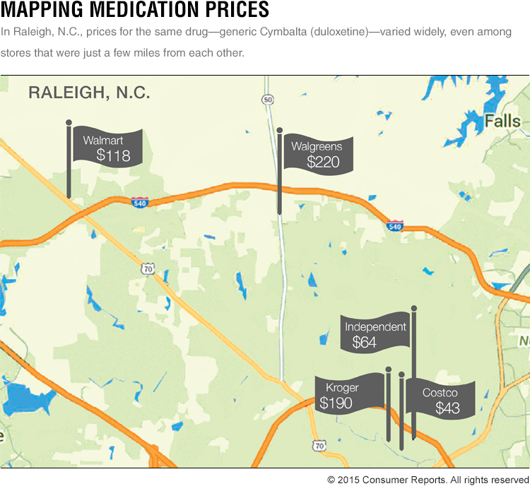 Consumer Reports' map shows you how prescription drug prices can vary in a region.