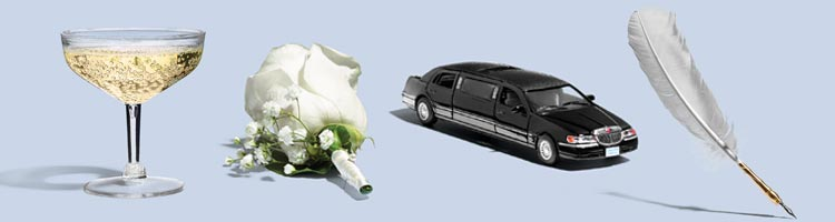 Image of a Champagne glass, a rose, a limo and a quill for a cheap wedding