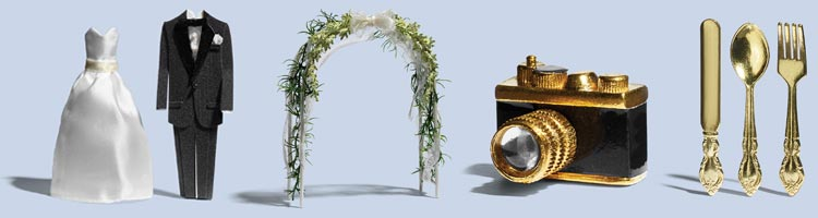 Image of items associated with a wedding: bride and groom attire, arch with flowers, a camera and silverware.