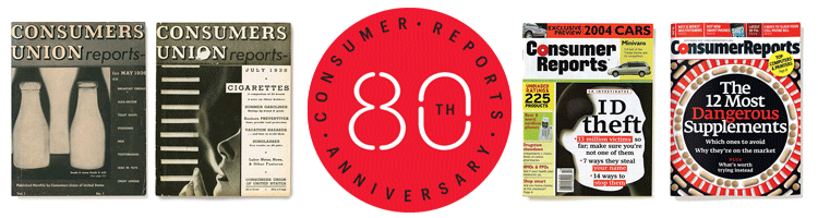 An image of a collection of some Consumer Reports Magazine covers from its 80 years of publication.