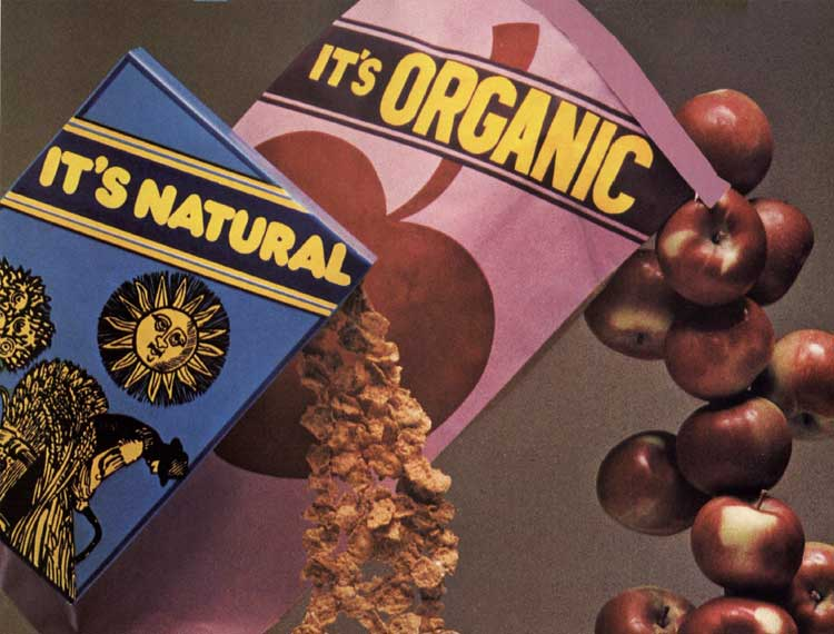 Natural cereal and organic apples pouring from bags