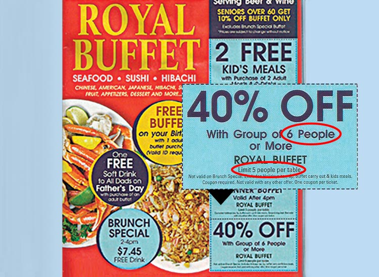 A buffet restaurant advertisement offering 40% discounts for dining parties of six or more people, but the disclaimer says there's a limit of 5 people per table.