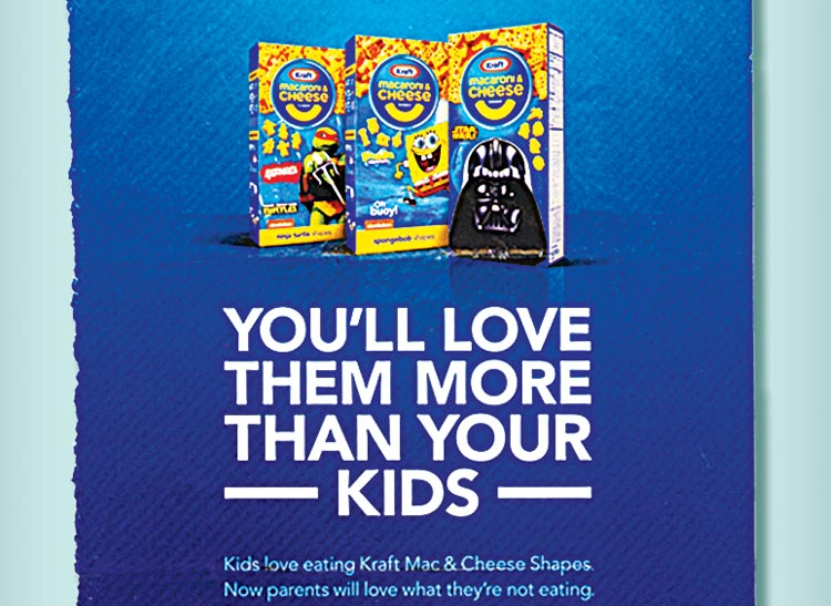 An advertisement for Kraft macaroni and cheese with well-known fictional characters on the boxes.