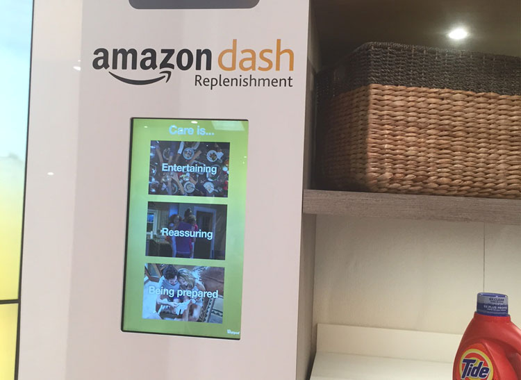 Amazon's Dash Replenishment Service on display in Whirlpool's booth at CES 2016