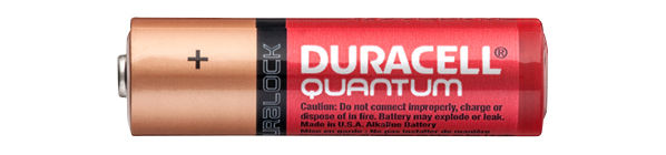Picture of one alkaline AA battery made by Duracell.