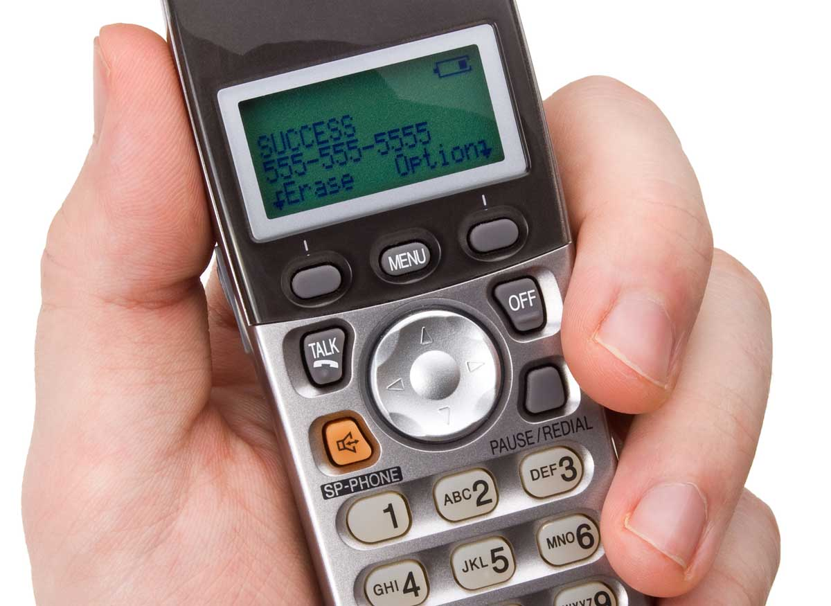 Photo of a cordless phone that has caller ID.