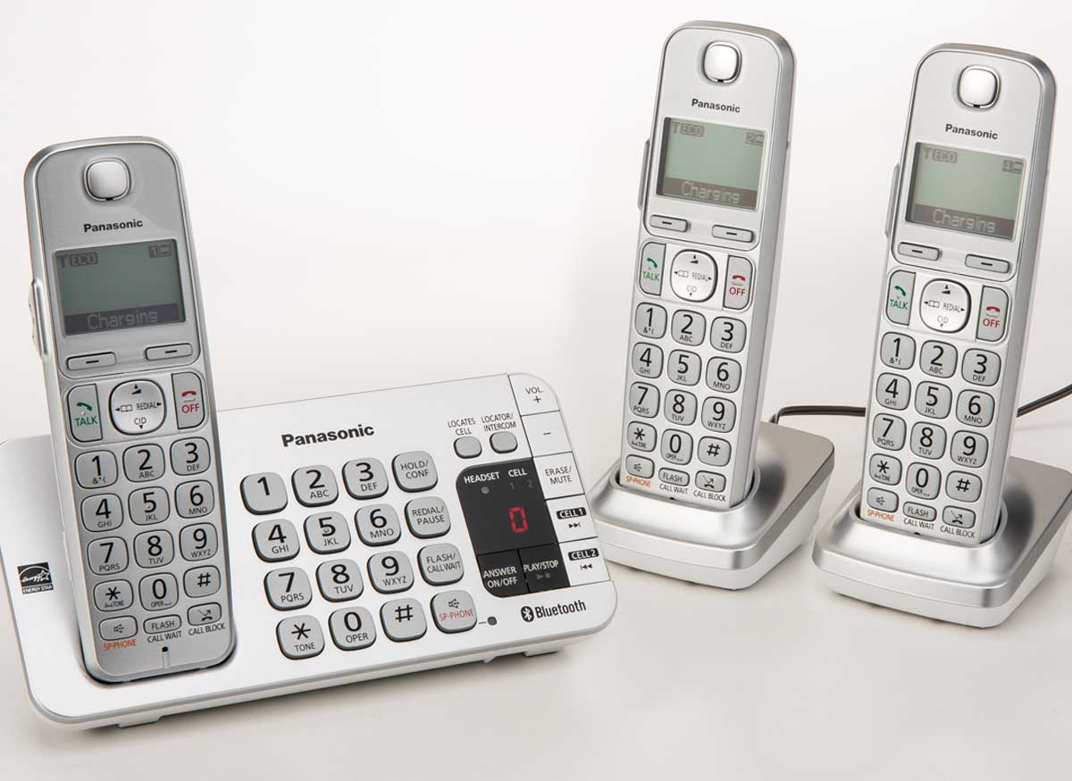 Photo of a corldess phone that has three handsets.