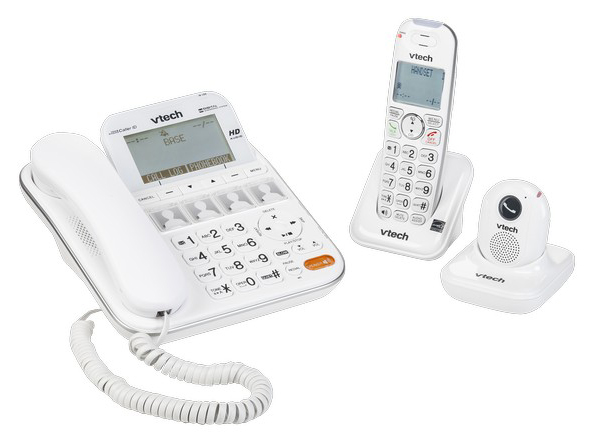 Photo of a white corldess phone with answerers.