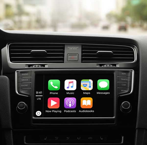 Photo of an integrated infotainment system.