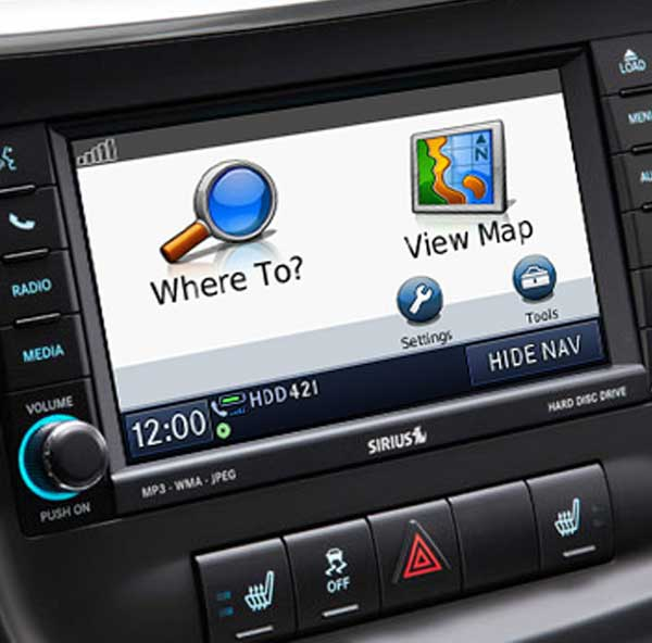 Photo of a factory GPS that is part of a car's built-in infotainment system.