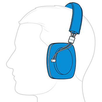 Illustration of a man wearing over-the-ear headphones.