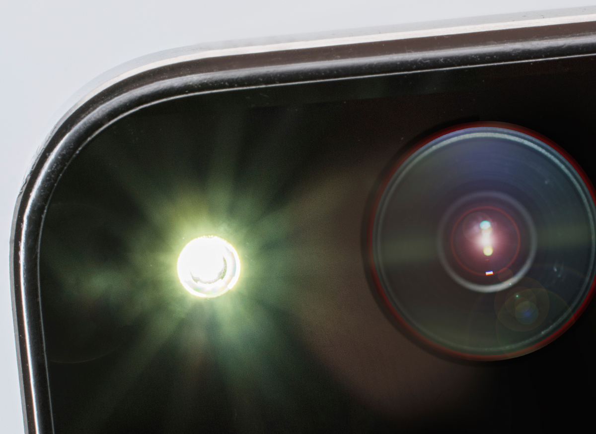 Picture of the flash going off on someone's smartphone camera.