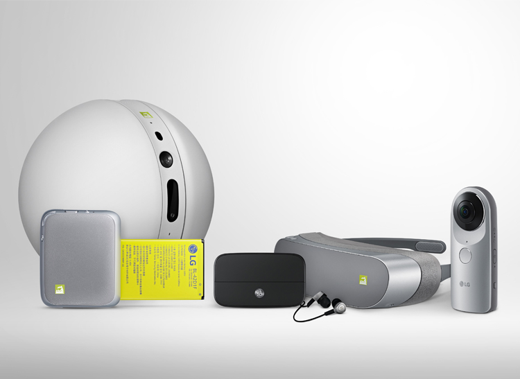 This is the LG G5 and accessories, including the company's 360-degree camera