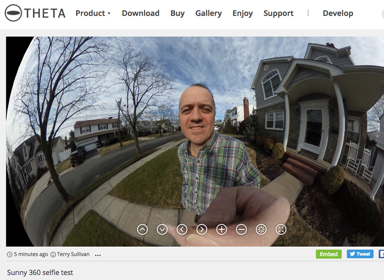 A screenshot of an outdoor self portrait shot with a 360-degree camera