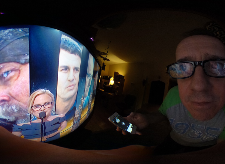 A photo shot in the glow of a TV set with the Ricoh Theta S 360-degree camera.