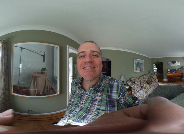 An indoor self-portrait shot with the Ricoh Theta S 360-degree camera