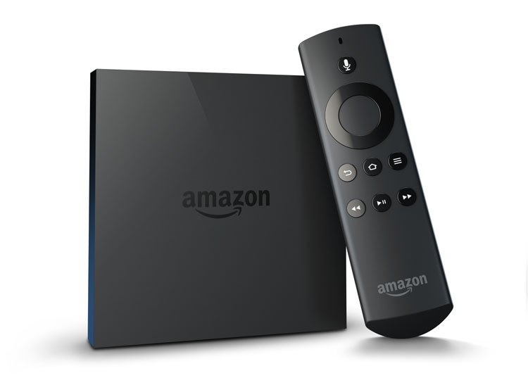 Photo of the new Amazon Fire TV and remote control.