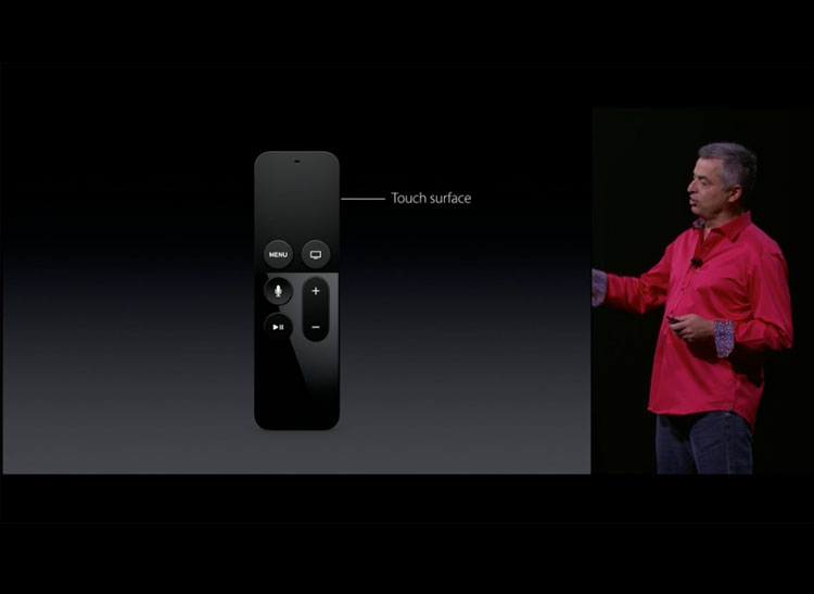 A photo of the new, redesigned Apple TV remote.