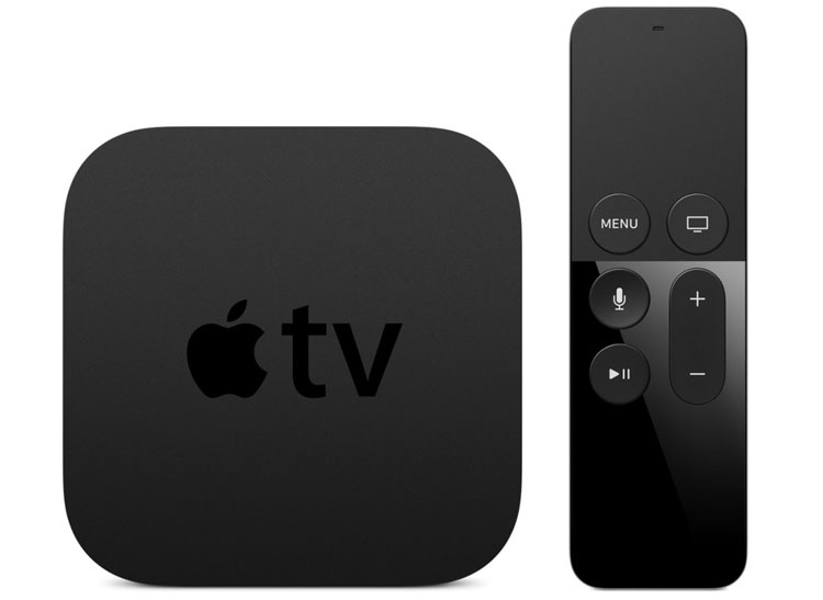 Black Apple TV with black remote