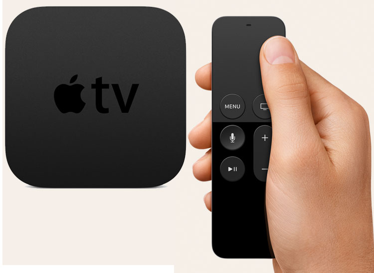 Photo of the Apple TV streaming device and the new touchpad remote control.