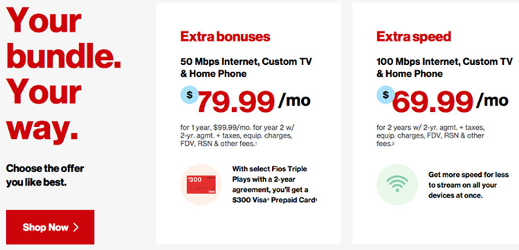 Load up on internet deals. Sign up for a Fios Gigabit Connection Triple Play and save $10 off your Verizon Wireless and Fios services – for a savings of $20 a .