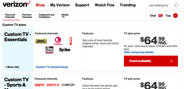 Screen grab of two of the Verizon FiOS TV packages with different pricing.
