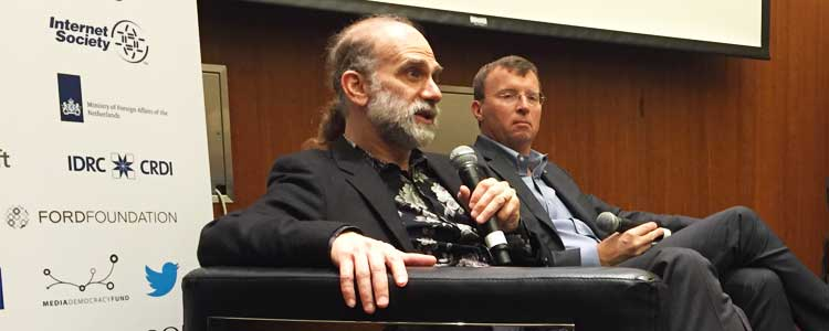 Bruce Schneier (left) and Michael R. Nelson, who works on policy issues for web-services startup CloudFlare, discussing data breaches at RightsCon.