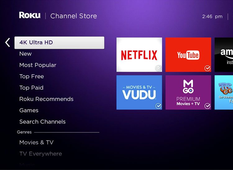 Picture of the Roku 4 main channel store menu screen.