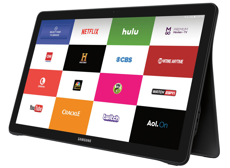 Samsung galaxy view review consumer reports the main home screen of the samsung galaxy view showing the tv apps keyboard keysfo Gallery