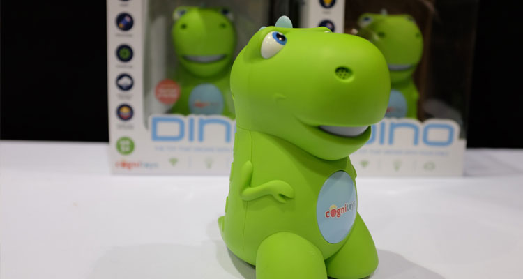 Connected toys are a major trend as evidenced by Dino, a web-connected talking dinosaur