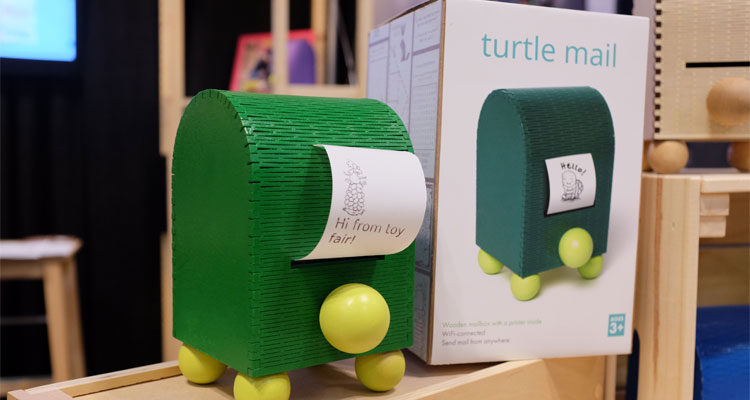 Connected toys are a major trend as evidenced by TurtleMail, a device that enables parents to send messages to their kids.