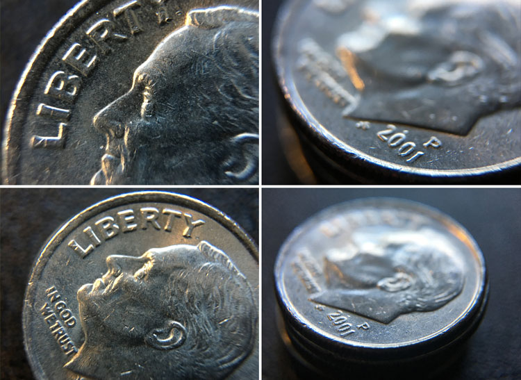 This is a composite photo of four views of a dime.